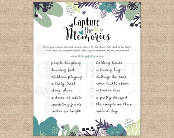 Printable I SPY Wedding Cards, Instant Download, Reception Placesetting Decor, 8 colors / DIY Digital Printable / W-I06-1PS ZZ6