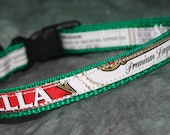 Adjustable Cat or Toy Dog Collar from Recycled Stella Beer Labels