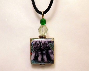 SCHNAUZER Scrabble Pendant / Upcycled Jewelry / Beaded Necklace / Charm / Dog Gift