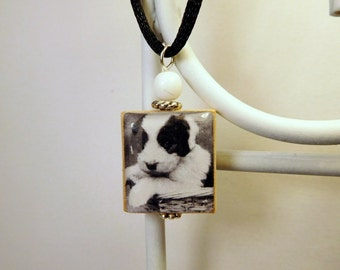 Old ENGLISH SHEEPDOG  Puppy / Scrabble Pendant / Dog Lover Gifts / Necklace with Cord / Bobtail - OES