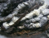 Handspun Super Bulky Wool Llama and Mohair Yarn in Natural Colors of Brown White Gray by KnoxFarmFiber for Knit Weave