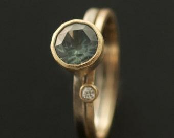 Modern // 1.18 ct Montana Sapphire Stacking Ring // VK Designs