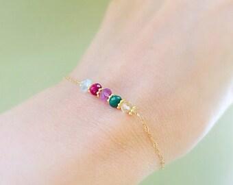 Family Birthstones Bar bracelet, Friendship bracelet, minimal birthstone bracelet, mothers bracelet, gift for mom, sisters, best friend