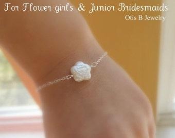 2-DAY 20% OFF SALE Flower girl bracelet, junior bridesmaid gifts, silver pearl bracelet, adjustable, flower bracelet for child, childrens br