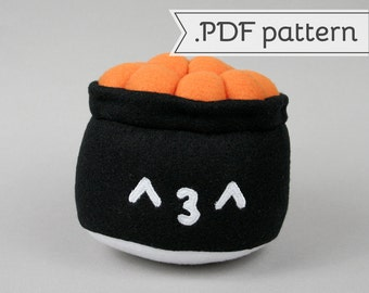 Salmon Roe Gunkan Sushi Plush .pdf Sewing Pattern