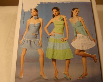 PATTERN BURDA 8040 Skirt, Instructions in English, French and Spanish.