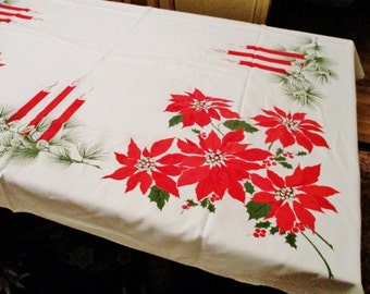 Vintage 1970's Christmas Tablecloth, Bright Poinsettias, Holly Candles, 80 x 60, 5 Tiny Vague Stains, FREE SHIPPING