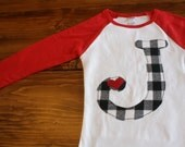 Valentines Day Shirt, Valentines Outfit, Buffalo Plaid Shirt, Initial Shirt, Heart Shirt, Buffalo Check, Ready to Ship Shirt