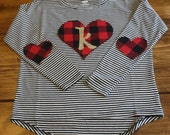 Valentines Day Shirt, Valentines Outfit, Buffalo Plaid Shirt, Initial Shirt, Black and White Stripes, Ready to Ship Shirt, Valentines Shirt