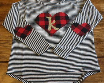 Christmas Shirt, Valentines Outfit, Buffalo Plaid Shirt, Initial Shirt, Black and White Stripes, Ready to Ship Shirt, Valentines Shirt