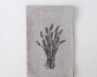 Linen Towel - Lavender Flower Bouquet - Linen Tea Towel by Sweetnature Designs - Choose your fabric and ink color