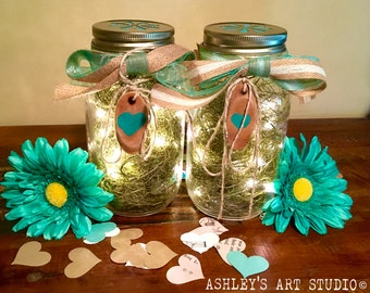 Mason Jar Lantern Centerpiece Country Wedding Lighted Centerpiece