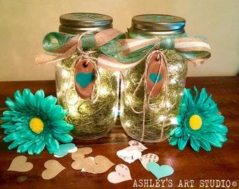 Mason Jar Lantern Centerpiece Country Wedding Lighted Centerpiece