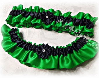 Emerald green and black wedding bridal keepsake and toss garter set.  Bridal accessories.
