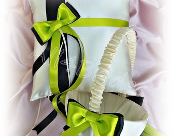 Lime green and black wedding ring pillow and flower girl basket, wedding ring cushion and basket set.