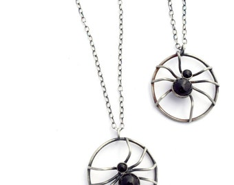 Sterling Silver Necklace, Halloween Necklace, Onyx Necklace, Spider Pendant, Spider Jewelry, Unusual Jewelry, Creepy Necklace