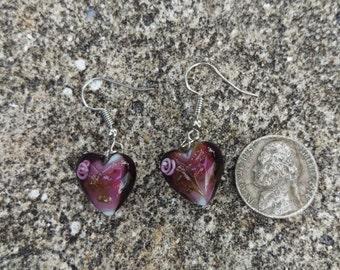 Purple Heart Murano Glass Earrings - 1 Pair