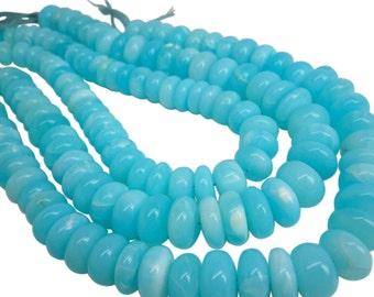 Blue Peruvian Opal Beads, Peruvian Opal Beads, Blue Opal Beads, Rondelles, SKU 4845
