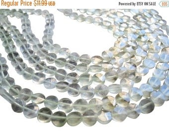 SALE Prehnite Beads, Faceted Coin, 5mm coin, Loveofjewelry, Weddings, Brides, Bridal, Wholesale Beads, SKU 1123