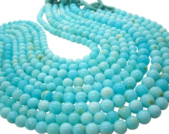 Blue Peruvian Opal Beads, Peruvian Opal Beads, Blue Opal Beads, Round, Aqua Gemstone, Wholesale Opal, SKU 5108