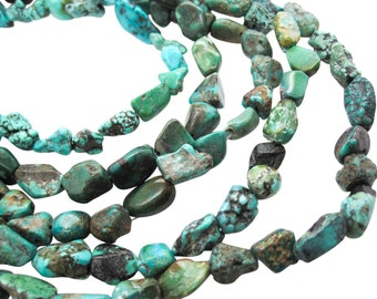 Turquoise Nugget, Turquoise Beads, Blue Turquoise, December Birthstone, SKU 5145A