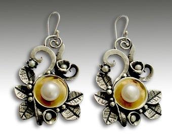 Leaf earrings, Sterling silver earrings,  silver gold earrings, leaf earrings, woodland earrings,  botanical earrings - Crazy love E2156G