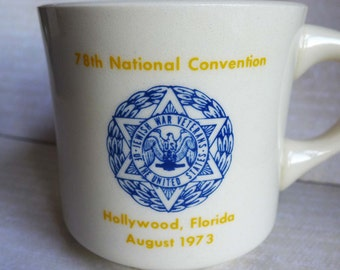 Vintage Jewish War Veterans Mug 78th National Conference Hollywood Florida August 1973, JWV Military Souvenir, Jewish Militaria Cup