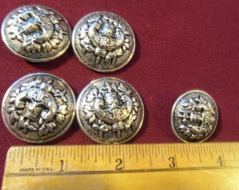 Vintage Lot 6 Metal Shank Buttons