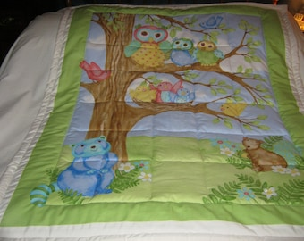 Handmade Baby Woodland Friends Forest Animals Cotton Baby/Toddler Quilt - Newly Made
