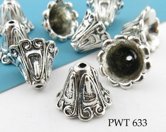 12mm Large Pewter Fluted Cone Bead Caps  Antique Silver (PWT 633) 6pcs BlueEchoBeads