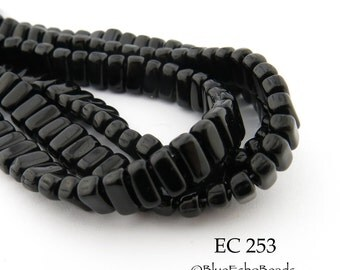 CzechMates 2 Hole Brick Opaque Jet Black Beads 3x6mm (EC 253) 50 pcs BlueEchoBeads