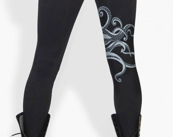 Octopus leggings, tentacles, Octopus print, yoga, workout, dance, Kraken, black tights
