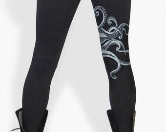 Octopus leggings, tentacles, Octopus print, yoga, workout, dance, Kraken, black tights, Gift for Her
