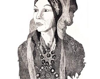 Malla Lappish woman postcard
