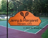 Custom Carved Cedar Sports - Tennis Sign - Personalized Carved Family Name Sign - Includes round garden holder