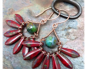 Fanfare Red and Turquoise Dangle Earrings with Copper, Wire Wrapped, Ready to Ship