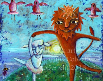 """Lion Dancing with the Lamb 24"""" x 24"""" Mixed Media  Painting on canvas by Christina Colwell, Modern Contemporary Folk Art"""