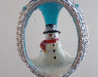 Snowman Winter Christmas 3 Sided Egg Shell Ornament