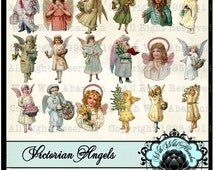 On Sale Angel Clipart, Winter Angels, Victorian Angels, Christmas Angels, Cherubs, Hang Tags, Angel Gift Tags, Angel Collage Sheets
