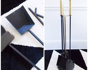 Mid Century brass iron fire place set/ vintage 1950s fireplace tool set/ Modernist fireplace tools