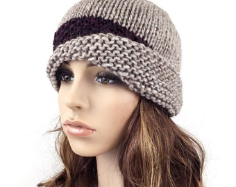 Hand knit hat woman hat Fold band hat camel hat band wool hat-ready to ship