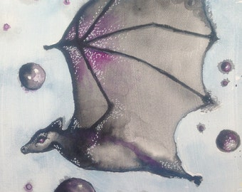 Night Guardian,original watercolor painting canvas 8x10