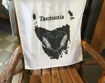 Tasmanian Tiger cotton tea towel