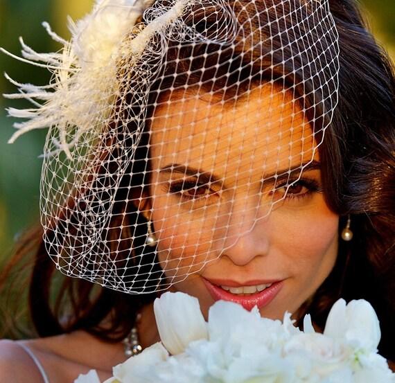 Bridal Veil Fascinator Set, Birdcage Veil, Feather Headpiece, Rustic Wedding Flower Hair Accessories, RACHEL VIVA (2 items)
