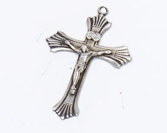 Antique Sterling Cross - Evangeline Pendant - 30s