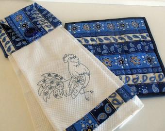Hanging Towel Pot Holder  Set/ Kitchen Set/ Rooster Hanging Towel and Pot Holder Set/ French Country Kitchen Set/ Hanging Kitchen Towel  Set