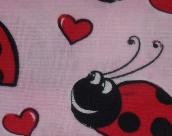 Lady Bugs and Hearts on a Pale Pink Background Whippet, Galgo, Pit Bull, Dog, Sighthound, Martingale Collar