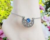 Women's Ankle Bracelets Moon Anklet Silver Anklets  Swarovski Crystal Women's Anklet Women's Jewelry