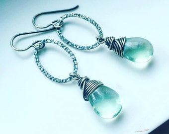 Sterling Silver Textured Hoops with Wire Wrapped Pale Minty Fluorite Droplets