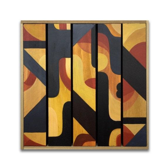 "Metric - Original Painting on wood slats - 8"" x 8"""